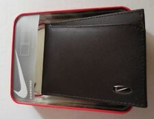Nike Golf Men's Tri-fold Leather Passcase Wallet Color Brown New In Tin Box