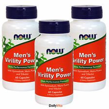 3 x NOW Men's Virility Power Male Performance Formula 60 Caps FRESH, Made In USA