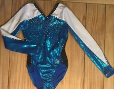 GK ELITE Competition Leo Leotard gymnastics RHINESTONE Dance BLUE WHITE Bodysuit