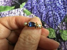Tanzanite and Pearl Ring 22k gold Size between 6.5 and 6.75