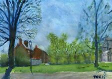 Terry George painting of The Cathedral Close Norwich in spring