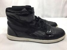 REEBOK SH COURT MID J81730 ALL BLACK LEATHER FAUX SNAKE SKIN SNEAKERS MEN'S