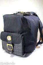 Vintage Gianni VERSACE Black Nylon & Leather Sling Back Bag Shoulder Bag Italy