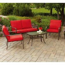 Patio Furniture Conversation Set Garden Deck Cushioned Sofa Chairs Table 4 Piece