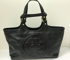 TORY BURCH Black Leather Bombe Large Front Logo Tote Shoulder Hand Bag