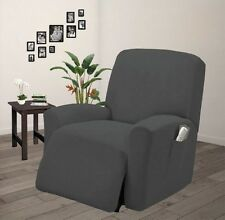 Pique Stretch Fit Furniture Chair Recliner Lazy Boy Cover Slipcover Gary / Grey