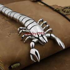 Cool jewelry men's pure silver stainless steel scorpion animal image bracelet