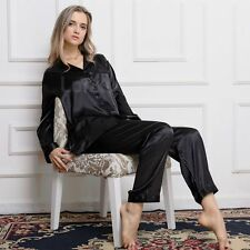 Gift Women Silk Satin Pajamas Pajama Set Sleepwear Set Loungewear Black U.K.L18