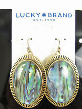 Lucky Brand Earrings Abalone Large Oval Drop Gold Tone Jlry6097