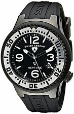 Swiss Legend Neptune 21848P-BB-01-SA Black Ion Plated Steel Black Silicone Cover