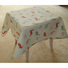 """Small Square Coffee Tablecloth 3ft Rabbits 36"""" Green Beige Orange Duck Egg 90cm"""