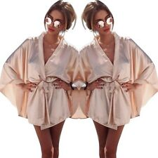 NEW Soft Pink Satin Silk Tie Celeb MIC Wrap Evening Party Short Dress 10 12 M