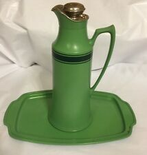 Green Enamel Antique Pitcher Landers Frary  & Clark Pitcher & Tray Mid Century