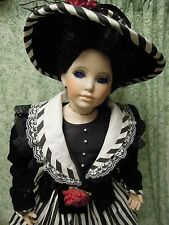 "Handcrafted porcelain/cloth doll ""MANDY"" in black & white stripes  cp-380"