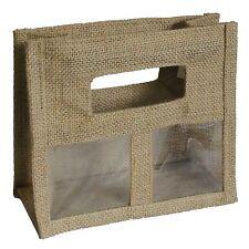 2 x deux pot jute/de hesse sacs cadeau naturel avec windows pour toute occasion