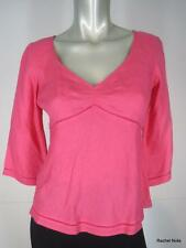 NWT $69 ANN TAYLOR 2P Linen Lace Trim V-Neck 3/4 Sleeve Pink Top Blouse NEW