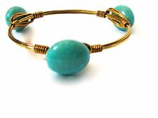 NEW Bohemian Inspired Turquoise Stone Wire Wrap Bracelet Bangle Stack Dress