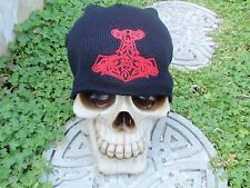 goat hammer solid red embroiderd beanie hat thors hammer asatru norse