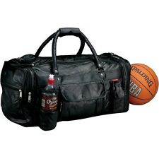 Black Leather Gym Duffle Bag w/ Bottle, Men Carry-On Women Luggage Tote Suitcase