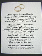 20 Wedding poems asking for money gifts not presents Ref No 6