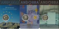 (GDMT2) ANDORRA TRIO 3x 2 EURO AUS 2014 + 2015 GEDENKMÜNZE ANDORRE AUSGABE 2016