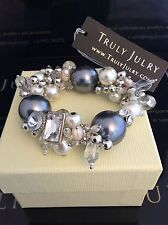 Luxurious Designer Grey Pearl And Diamanté Bracelet - Gift Packaged