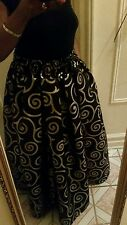 Long pleated maxi Skirt Black and Gold With elastic waist a Pocket S,M,L,Xl free