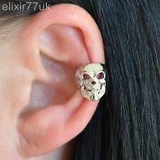 UK NEW ALCHEMY SILVER SKULL CARTILAGE EAR CUFF CLIP ON EARRING GOTHIC PUNK ROCK