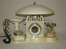 Vintage French Telephone Touch Lamp Clock and Spinning Musical Retro