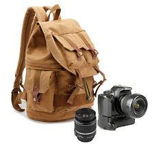 Waterproof Men Canvas DSLR SLR Padded Camera Lens Bag Backpack Daypack Rucksack