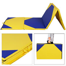 "4'x10'x2"" Thick Folding Panel Gymnastics Mat Gym Fitness Exercise Yellow/Bl"