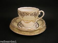 J. Fryer Pink Rose Gold Vintage China Trio Tea Cup Saucer Plate c1940's