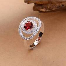 European Style 925 Silver Red Crystal Gemstone Party Ring Sz.8