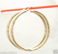 "3mm X 45mm 1 3/4"" Large Diamond Cut Hoop Earrings REAL 10K Yellow Gold"