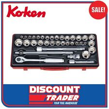 """Koken Socket Set 1/2"""" Square Drive 12 Point 36 Piece Made in Japan 4279AM"""
