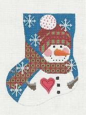 SP.ORDER  Danji Snowman w/ Heart Mini Stocking handpaint Needlepoint Canvas Orna