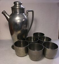 PEWTER CONCORD PITCHER AND 6  PEWTER JEFFERSON CUPS