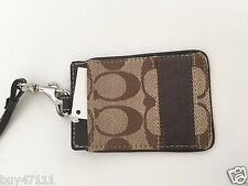 Coach Signature Stripe Khaki/Mahogany Brown Lanyard Badge Pass ID Case F61766