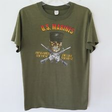 VINTAGE ORIGINAL TEE SHIRT USMC US MARINES 1980s MESS WITH THE BEST DIE SMALL