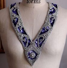 LONG V neckline COLLAR Bead & Sequin Applique - PURPLE & SILVER