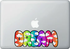 "CLR:MB- Dream Color Clouds Text - Macbook Decal (8""w x 3""h)(Black Outline)"
