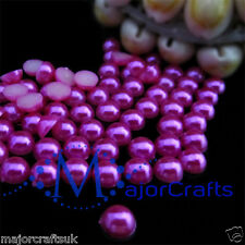1800pcs Dark Pink 1.5mm Flat Back Half Round Resin Pearls Nail Art Gems C21