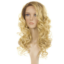Holly Human Hair Blend Wig | Long Curly Rooted Blonde Lace Front Natural Wig