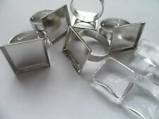 *NEW* 5 x 16mm Square Adjustable ring Kit. Settings & Clear glass cabochons