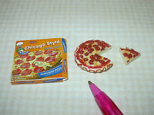 Miniature Boxed Chicago Style Pepperoni Pizza, Slice Cut: DOLLHOUSE 1/12