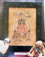 "Meme's Quilts Embroidery PATTERN 11"" x 16"" wallhanging birthday boy primitive"