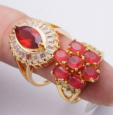 Attractive Rings Red Cubic Zircon White Gold Filled Banquet Rings Mixed Size