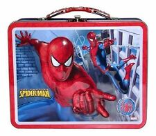 Tin Metal Lunch Snack Toy Box Embossed Marvel SPIDERMAN Wall NEW