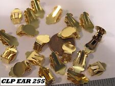 10 pr Vtg 20 Clip On Earrings Gold Plate 9mm Cup Base Jewelry Findings Craft lot