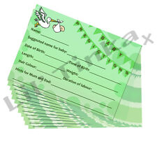 BABY SHOWER PREDICTION CARDS PARTY GAME PREMIUM QUALITY 10 PLAYER. GREEN/NEUTRAL